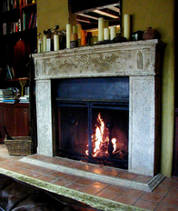 Photo of Fireplace Mantel with Oak Leaf Motif